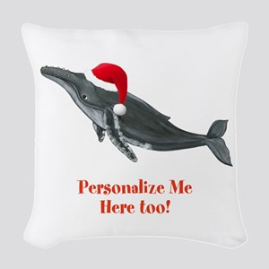 Personalized Christmas Whale Woven Throw Pillow