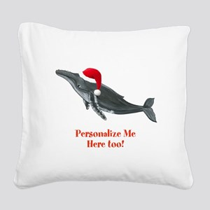 Personalized Christmas Whale Square Canvas Pillow