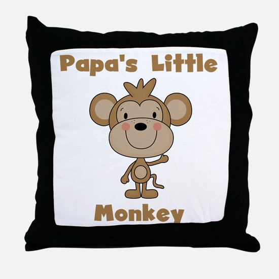 Papa's Little Monkey Throw Pillow