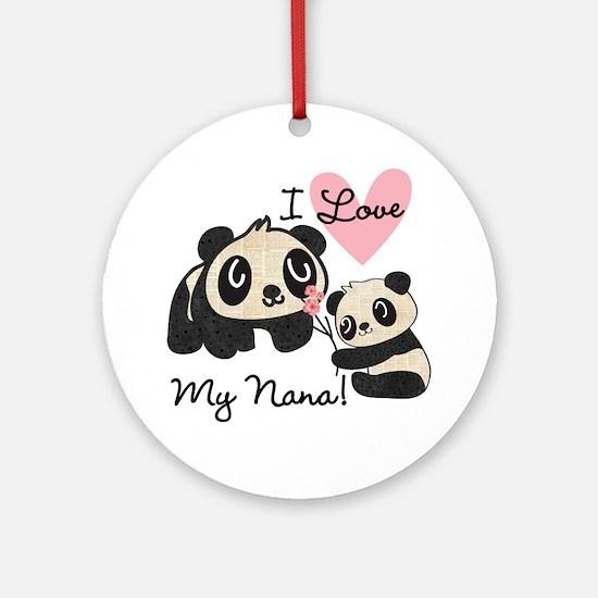 Pandas I Love Nana Ornament (Round)
