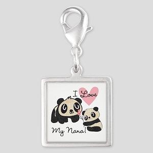 Pandas I Love Nana Silver Square Charm