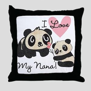 Pandas I Love Nana Throw Pillow