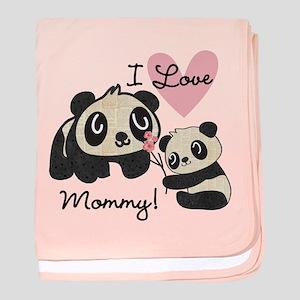 Pandas I Love Mommy baby blanket
