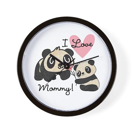 Pandas I Love Mommy Wall Clock