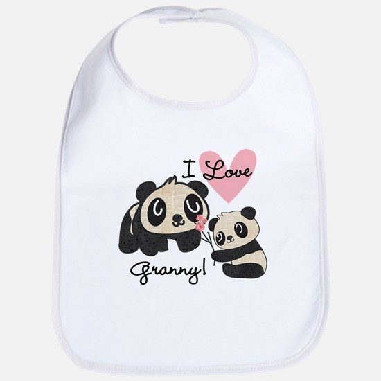 Pandas I Love Granny Bib