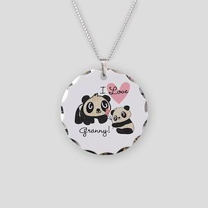 Pandas I Love Granny Necklace Circle Charm