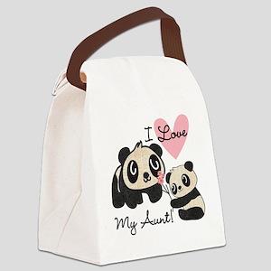 Pandas I Love My Aunt Canvas Lunch Bag
