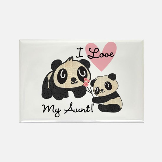 Pandas I Love My Aunt Rectangle Magnet