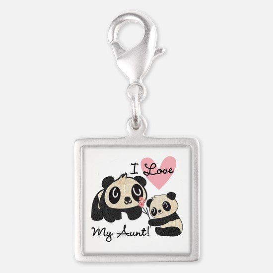 Pandas I Love My Aunt Silver Square Charm