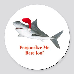 Personalized Christmas Shark Round Car Magnet