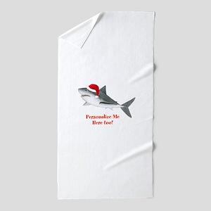 Personalized Christmas Shark Beach Towel