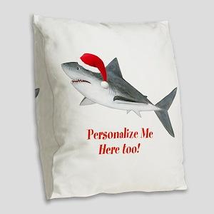 Personalized Christmas Shark Burlap Throw Pillow