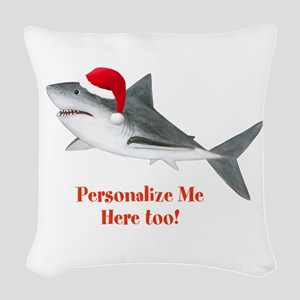 Personalized Christmas Shark Woven Throw Pillow