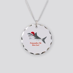 Personalized Christmas Shark Necklace Circle Charm