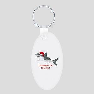 Personalized Christmas Shark Aluminum Oval Keychai