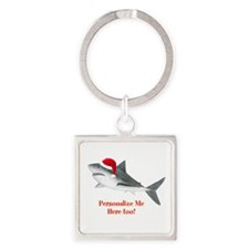 Personalized Christmas Shark Square Keychain