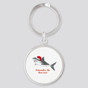 Personalized Christmas Shark Round Keychain