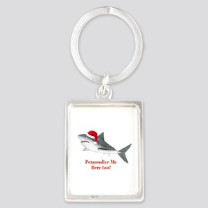 Personalized Christmas Shark Portrait Keychain