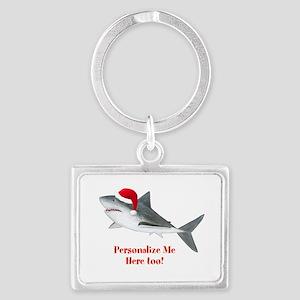 Personalized Christmas Shark Landscape Keychain