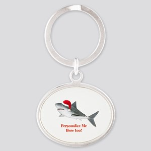 Personalized Christmas Shark Oval Keychain
