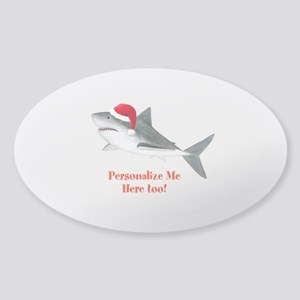 Personalized Christmas Shark Sticker (Oval)