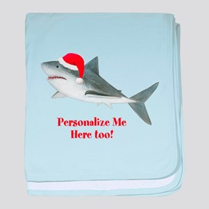 Personalized Christmas Shark baby blanket
