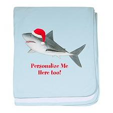 Personalized Christmas Shark baby blanket
