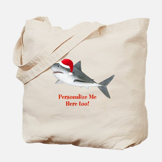 Personalized Christmas Shark Tote Bag
