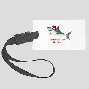 Personalized Christmas Shark Large Luggage Tag