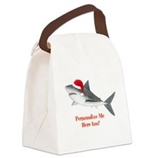 Personalized Christmas Shark Canvas Lunch Bag
