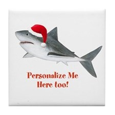 Personalized Christmas Shark Tile Coaster