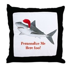 Personalized Christmas Shark Throw Pillow
