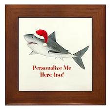 Personalized Christmas Shark Framed Tile