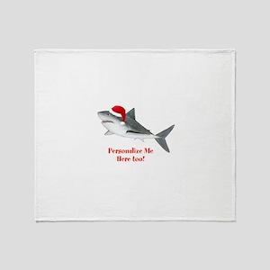 Personalized Christmas Shark Throw Blanket