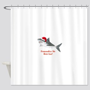 Personalized Christmas Shark Shower Curtain