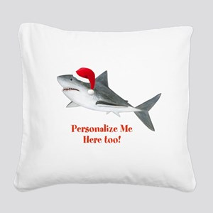 Personalized Christmas Shark Square Canvas Pillow
