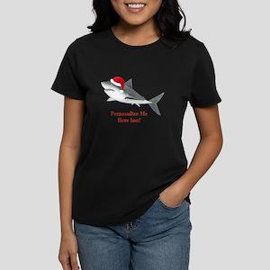 Personalized Christmas Shark Women's Dark T-Shirt