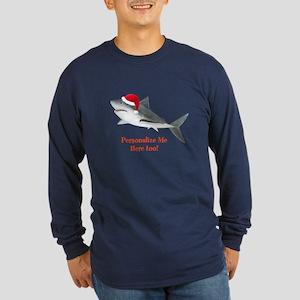 Personalized Christmas Shark Long Sleeve Dark T-Sh