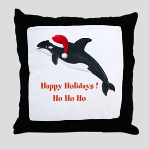 Personalized Christmas Whale Throw Pillow