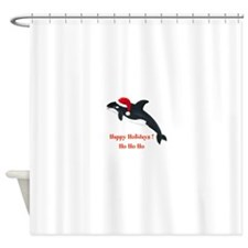 Personalized Christmas Whale Shower Curtain