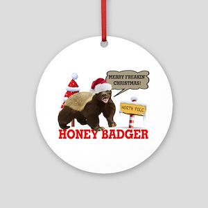 Honey Badger Merry Freakin' Christmas Ornament (Ro