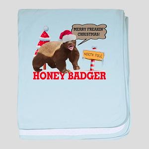 Honey Badger Merry Freakin' Christmas baby blanket