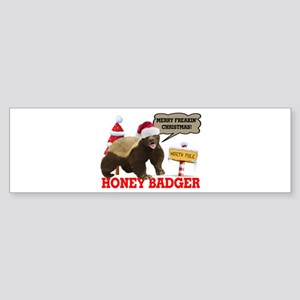 Honey Badger Merry Freakin' Christmas Sticker (Bum