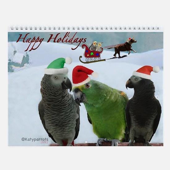 African Grey Parrots Wall Calendar