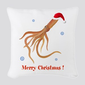 Personalized Christmas Squid Woven Throw Pillow