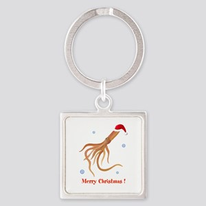 Personalized Christmas Squid Square Keychain