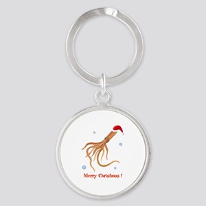 Personalized Christmas Squid Round Keychain