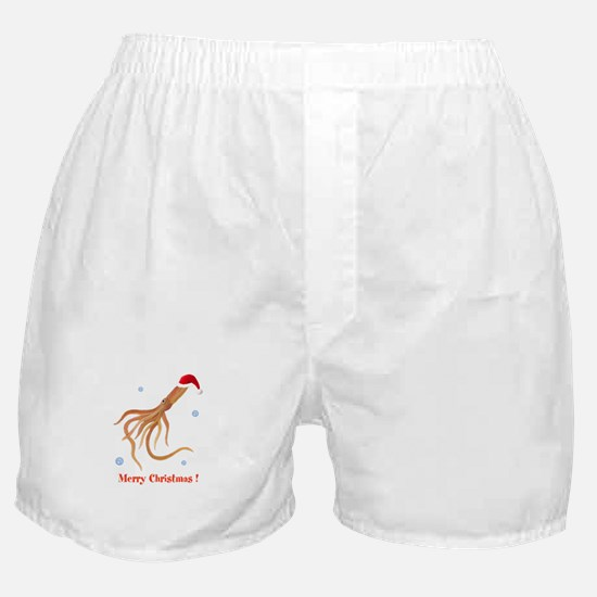 Personalized Christmas Squid Boxer Shorts