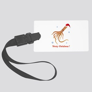 Personalized Christmas Squid Large Luggage Tag