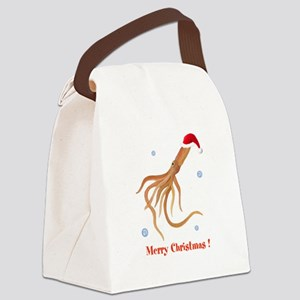 Personalized Christmas Squid Canvas Lunch Bag